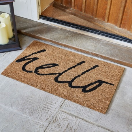 Hello Coir Brush Large Doormat 75 X 45cm Coconut Fun Door Mat