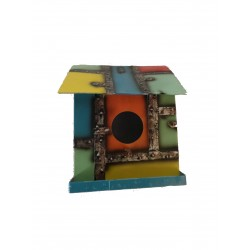 Small Decorative Birdhouse Metal Multi Coloured