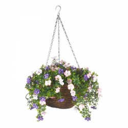 Petunia Artificial Topiary Hanging Basket 30cm