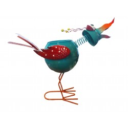 Fountasia Metal Barmy Bird Garden Ornament Planter Plant Pot Blue