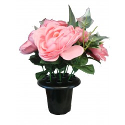 Topiary Artificial Pink Flower Posy In Pot Very Realistic Decorative Garden