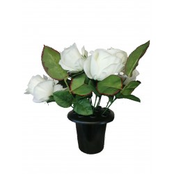 Topiary Artificial White Flower Posy In Pot Very Realistic Decorative Garden