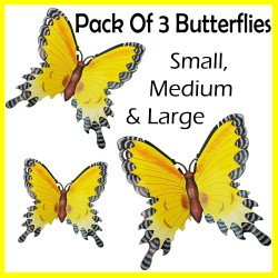 PACK OF 3 Yellow Wall Hanging Butterflies Wall Art Colourful Fun Wall Decor