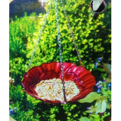 Chapelwood rose Hanging Glass Bird bath/ Feeder