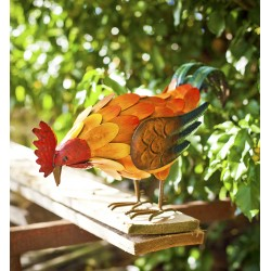 La Hacienda Feeding Rooster Garden Ornament