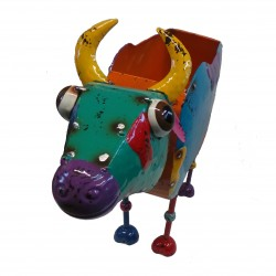 Fountasia Cow Flower Planter Bobble head Garden ornament