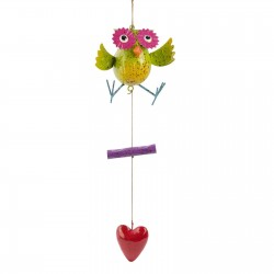 Fountasia Owl Hanging Mobile Wind Chime Metal Garden Ornament