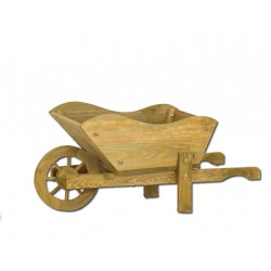 Decorative Tan Wooden Wheel Barrow