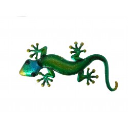 Green Gecko Lizard metal & Glass Wall Art Great for Indoor or Outdoor Fountasia