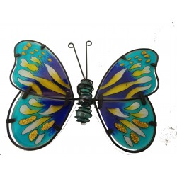 Metal and Glass Butterfly Wall Art In Blue and Yellow