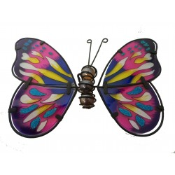 Metal and Glass Butterfly Wall Art In Pink