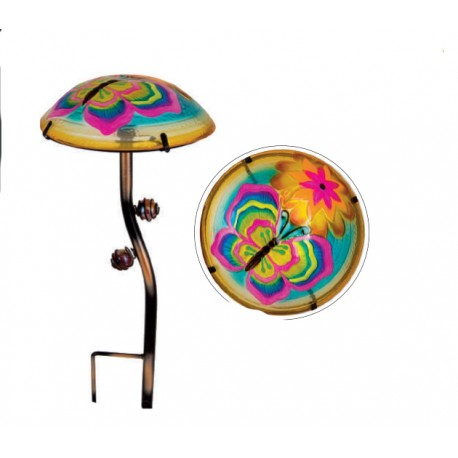 Fountasia Glass Mushroom Colourful Glow In The Dark Butterfly Garden Stake