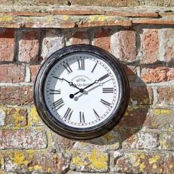 """Smart Garden Biarritz Black Silver Wall clock 12"""" 30cm Indoor And Outdoor"""