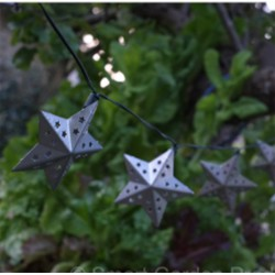 Solar Powered Metal Star 10 Cool White LED String Lights