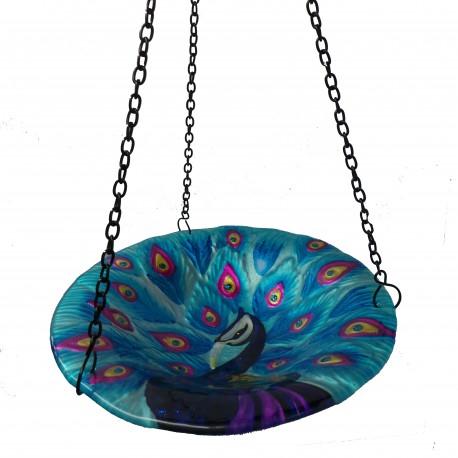 Fountasia Hanging Glass Bird bath/ Feeder (PEACOCK)