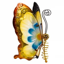 Metal and Glass Butterfly In Yellow & Blue