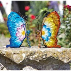 Pair Of Metal and Glass Butterflies In Yellow & Blue, Blue & Pink