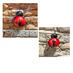 Pack of 2 Large And Medium Wall Art Metal Ladybirds Ornament