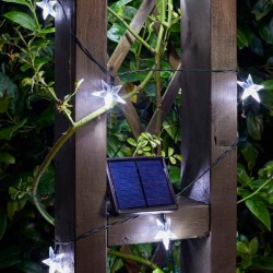 Solar Powered Metal Stars 50 Bright LED String Lights Smart Solar