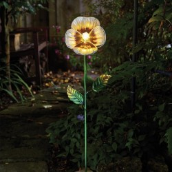 White Pansy Solar Powered Stake Light by Smart Garden