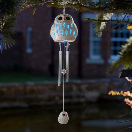 Ceramic Snowy Owl Wind Chime Light Solar Powered 2018 Smart Solar Moles Garden Store