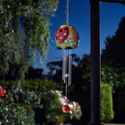 Ceramic Robin Wind Chime Light Solar Powered Smart Solar