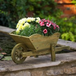 Woodland Whitewashed Wheelbarrow Planter
