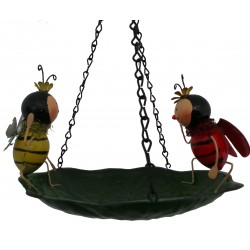 Ladybird and Bumble Bee Lovely Detailed Metal Bath Or Feeder Fountasia