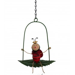 Hanging Metal Lady bird On A Swing Luvlie Fountasia