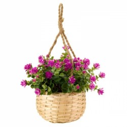 Pink Hanging Basket Bouquet Artificial Flowers Garden Or Home