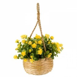 yellow Hanging Basket Bouquet Artificial Flowers Garden Or Home