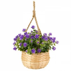 Purple Hanging Basket Bouquet Artificial Flowers Garden Or Home