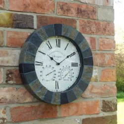 """Stonegate Wall Clock & Thermometer Slate Effect diameter 14"""""""