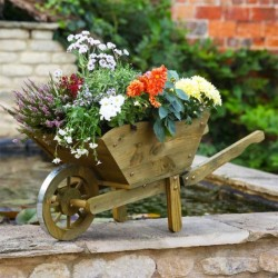 Wheelbarrow Planter Extra Large 30L x 39W x 98H In Rustic Brown By Smart Garden