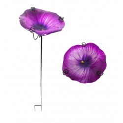 Glass Purple Pansy Bird Feeder On A Stake 71cm by fountasia