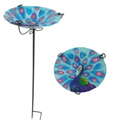 Glass Peacock Bird Feeder On A Stake 71cm by fountasia