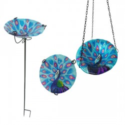 Set Of 2 Matching Glass Peacock Hanging & Stake Bird Bath / Feeder by fountasia