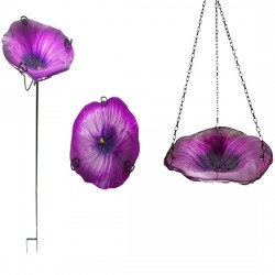 Set Of 2 Matching Glass Purple Pansy Hanging & Stake Bird Bath / Feeder by fountasia