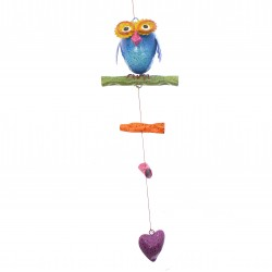 Professor Owl Hanging Chime Mobile Colourful Hand Painted Metal Garden Ornament
