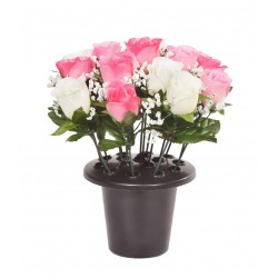 ARTIFICIAL PINK ROSE BUD GYPSOPHELIA GRAVE POT MEMORIAL & GARDEN 0173 SF