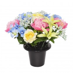 ARTIFICIAL BLUE PINK & YELLOW PEONY ROSE LILY GRAVE POT MEMORIAL & GARDEN 3822