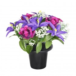 ARTIFICIAL PURPLE LILY & ROSE GRAVE POT MEMORIAL & GARDEN 4034 SINCERE FLORAL