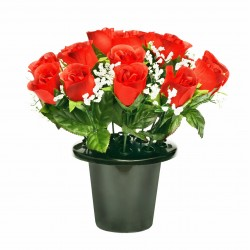 ARTIFICIAL RED ROSE BUD GYPSOPHELIA GRAVE POT MEMORIAL & GARDEN 0159 SF