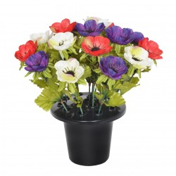 ARTIFICIAL CORAL ANEMONE PURPLE, GRAVE POT MEMORIAL & GARDEN 4027 SINCERE FLORAL