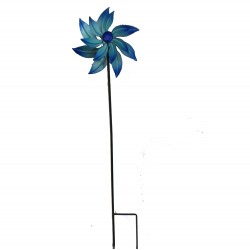 Blue Metal Windmill Stake Small H91cm By Fountasia