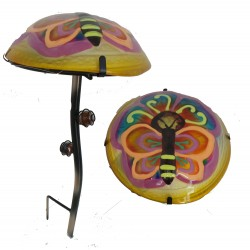 Fountasia (New) Glass Mushroom Colourful Glow In The Dark Butterfly Garden Stake