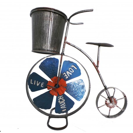 Penny Farthing Metal Planter Brightly Painted H 31 W 31 Outdoor Or
