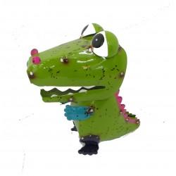 Calvin Crocodile Metal Colorful Fun Character Garden Statue Ornament Fountasia
