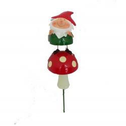 Gnome on Toadstool Decorative Metal Garden Stake Outdoor fountasia