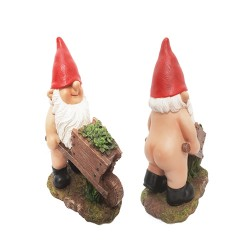 Garden Gnaughty Gnome With Wheelbarrow Detailed Ideal Girft (H20cm) Vivid Arts